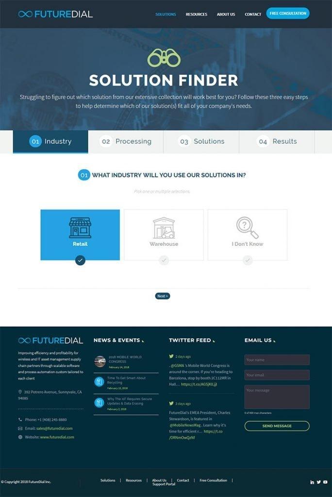 futuredial website screenshot